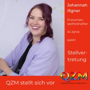 Johannahs Profilbild vor rotem Grund. Zusätzliche Infos: Pronomen sie/ihr, 34 Jahre, queer, Stellvertretung